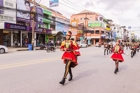 phuket province: Phuket, Thailand - Aug 26, 2016 : Cheerleader and parade of various schools in Phuket province on opening ceremony of yearly provincial sport. Editorial