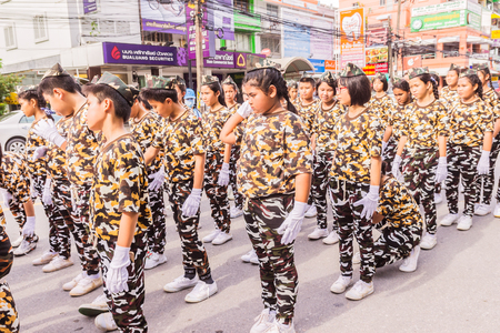 yearly: Phuket, Thailand - Aug 26, 2016 : Parade of various schools in Phuket province on opening ceremony of yearly provincial sport.
