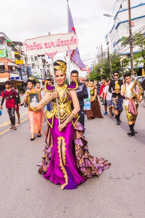 yearly: Phuket, Thailand - Aug 26, 2016 : Unidentified beautiful girl as leader of parade of various schools in Phuket province on opening ceremony of yearly provincial sport. Editorial