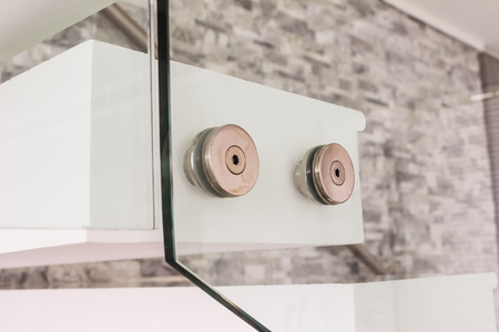 tempered: Construction details : Tempered glass balustrade fitting beside of stair of modern style villa