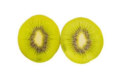 freshest: Kiwi slices into half isolated on white background