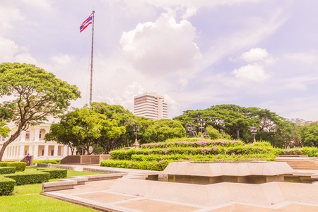 faculty: Bangkok, Thailand - June 5, 2016: King Chulalongkorn and King Vajiravudth (Rama V and VI) statue at front of University with background of Faculty of Engineering