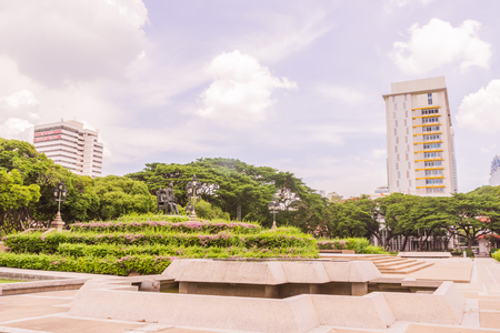 faculty: Bangkok, Thailand - June 5, 2016: King Chulalongkorn and King Vajiravudth (Rama V and VI) statue at front of University with background of Faculty of Engineering and Faculty of Science buildings Editorial