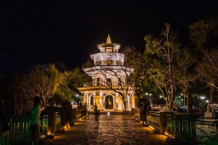 Phuket Memorial hall at Kao Rang hill in the night time, Phuket, Thailand