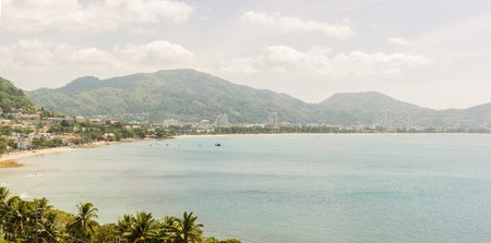 Panorama picture of Kalim beach and Patong beach, Phuket, Thailand. It is well-known destination for tourist all over the world. Stock Photo