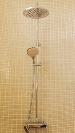 Rain shower in luxury bathroom with green mosaic tile