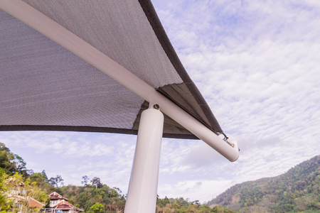 Construction details : Roof canvas corner with steel structure