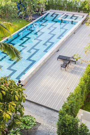 The swimming pool of the Little Nyonya Hotel, the beautiful Sino-Portuguese style hotel at Phuket, Thailand.