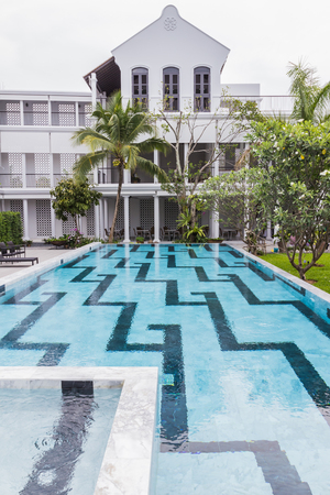 Phuket, Thailand - April 19, 2017: The Little Nyonya Hotel, the beautiful Sino-Portuguese style hotel. It is the unique destination for many tourists. Editorial