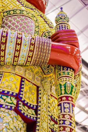 Close-up view of Giant Sculpture holdings its blackjack weapon. It demonstrates at Passenger Terminal at Suvarnabhumi International Airport Bangkok, Thailand.