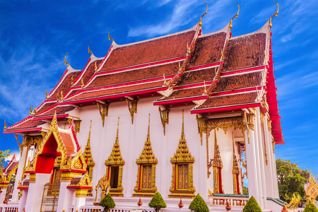 Thai Buddhist church of Chalong temple, Phuket, Thailand. It is the famous destination for tourists over the world