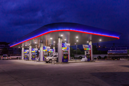 Phuket, Thailand - May 2, 2018: Gas station of Petroleum Authority of Thailand (PTT) in early night time