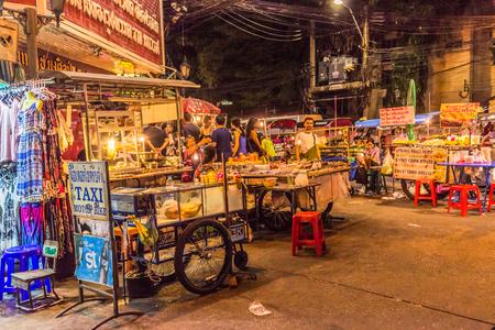 Bangkok, Thailand - July 9, 2017: Street night market at Soi Ram Butri near Khao Sarn road area