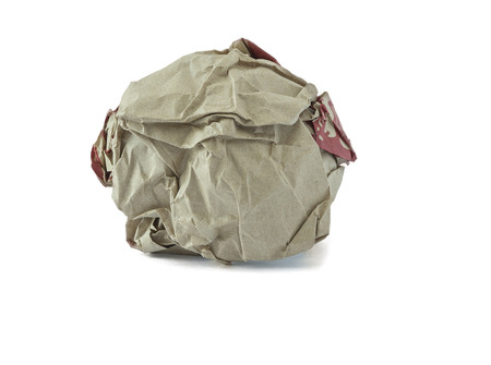 office physical pressure paper: Crumpled paper ball. Stock Photo