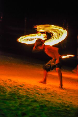 fire show: Motion blur: Fire Show on beach on Samad Island, Thailand