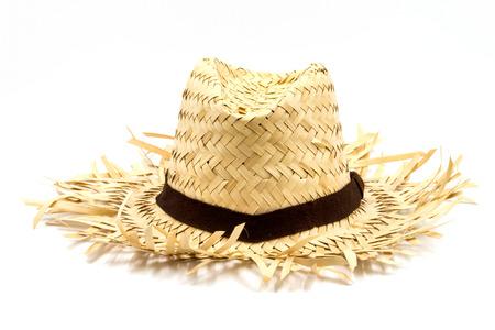 kapelusze: Słomkowy kapelusz na białym tle