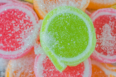 sugar paste: Jelly sweet, flavor fruit, candy dessert colorful on sugar. Stock Photo