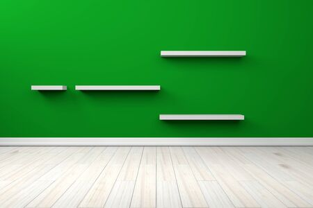 white shelf: Empty interior green room white white shelf and wooden floor, For display of your products. Stock Photo