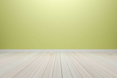 Empty interior light yellow room with wooden floor, For display of your products.  - 3D render image.