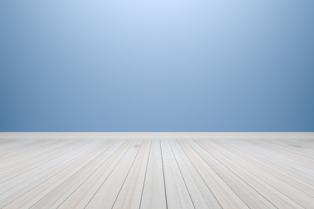 Empty interior light blue room with wooden floor, For display of your products.  - 3D render image. Stock Photo