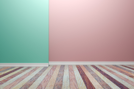 Empty interior  room with wooden floor, For display of your products.  - 3D render image. Stock Photo
