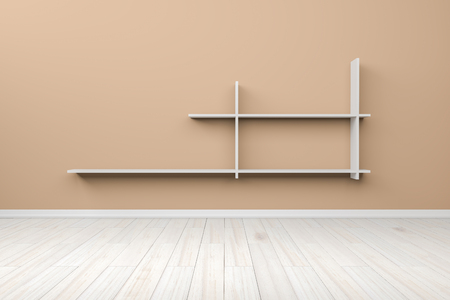 light brown: Empty interior light brown room white white shelf and wooden floor, For display of your products.  - 3D render image Stock Photo