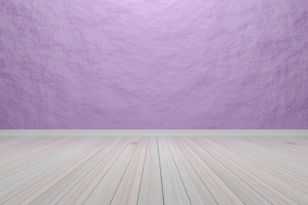 Empty interior light purple room with wooden floor, For display of your products.  - 3D render image.