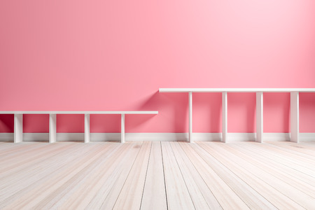 Empty interior light pink room with white shelf and wooden floor, For display of your products.  - 3D render image Stock Photo