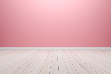 Empty interior pink room with wooden floor, For present your products.  - 3D render image.