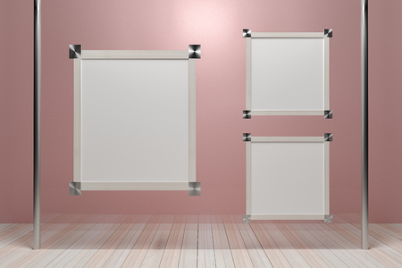 Empty wooden picture frame on glass walls. - 3D render image. Stock Photo