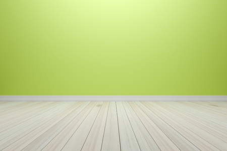 Empty interior light green room with wooden floor, For present your products.  - 3D render image.