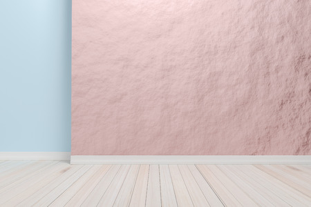Empty interior light pink room with wooden floor, For display of your products.  - 3D render image. Stock Photo