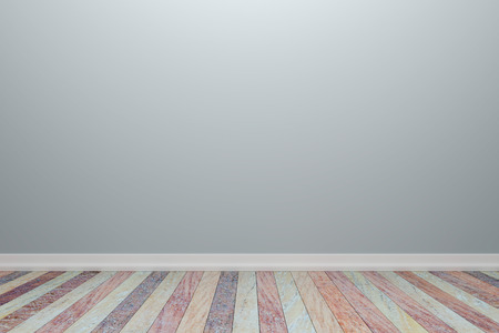 plank: Empty interior light gray room with wooden floor, For display of your products.  - 3D render image. Stock Photo
