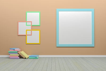 Empty interior pastel  brown room with picture frame and books, For display of your products.  - 3D render image.