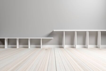 Empty interior light gray room white white shelf and wooden floor, For display of your products.  - 3D render image