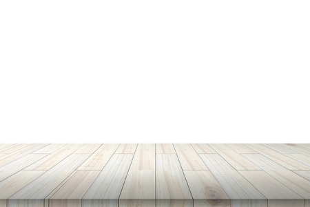 Empty wooden table or shelf wall isolated on white background, For present your products. Imagens
