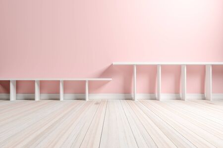 pastel color: Empty interior light pink room with white shelf and wooden floor, For display of your products.  - 3D render image Stock Photo