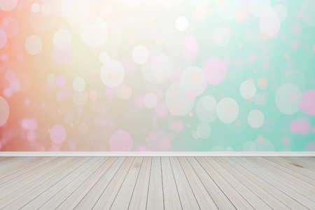 Empty interior light pastel bokeh  room with wooden floor, For display of your products.  - 3D render image.