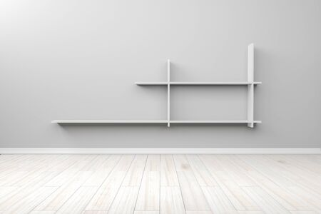 Empty interior light blue room white white shelf and wooden floor, For display of your products.  - 3D render image