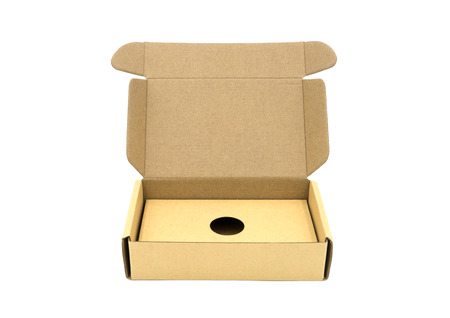 Open brown box  on white background.