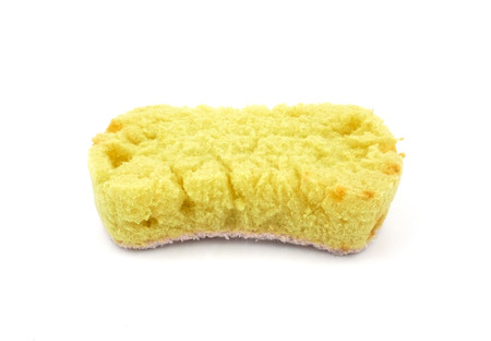 Old kitchen sponges on a white background is a longstanding and unhygienic.
