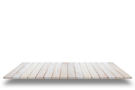 Empty top view of wooden table or counter (shelf) isolated on white background. For display of your products.