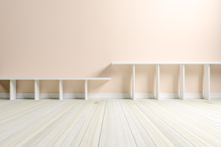 Empty interior light cream room with white shelf and wooden floor, For display of your products.  - 3D render image