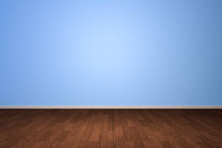 Empty interior light blue room with wooden floor, For display of your products.  - 3D render image. Imagens