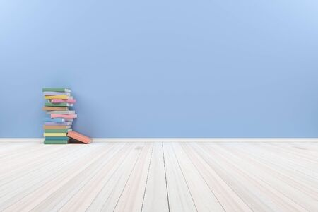 Empty interior pastel  room with wooden floor and books, For display of your products.  - 3D render image.