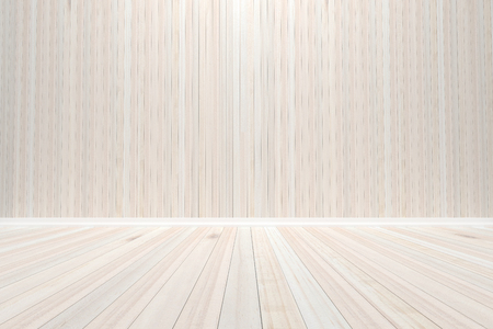 Empty interior room with wooden wall and floor, For display of your product. 3D render image.
