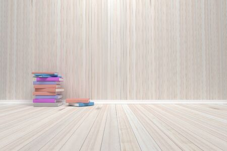 Empty interior room with wooden floor and books, For display of your products.  - 3D render image.