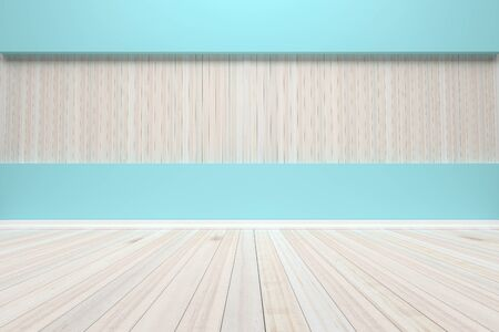 Empty interior pastel room with wooden floor, For present your products.  - 3D render image. Imagens
