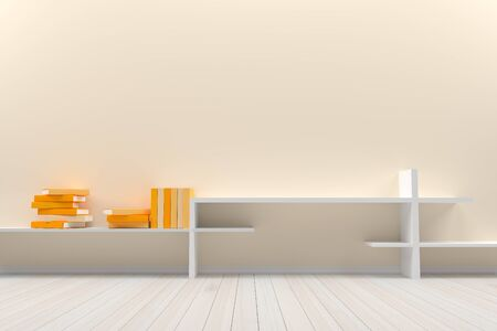 Empty interior oreang pastel  room with wooden floor and books, For display of your products.  - 3D render image.