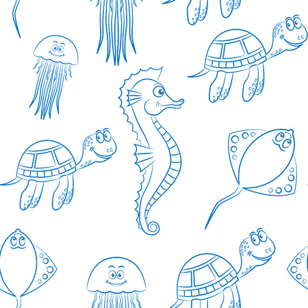 marine life seamless background pattern white background 向量圖像